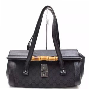 * GUCCI HAND BAG BLACK CANVAS WITH DUST BAG *